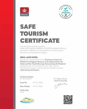 Safe Tourism Certificate - Sera Lake Resort Hotel Trabzon